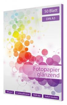 Fotopapier DIN A3 - 2 seitig glänzend - 180g - 50 Blatt