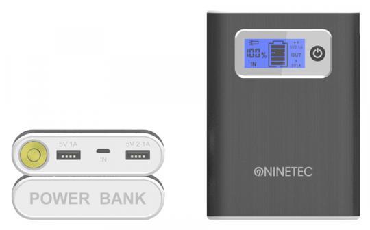NINETEC 13.000 mAh Powerbank externer Akku Schwarz